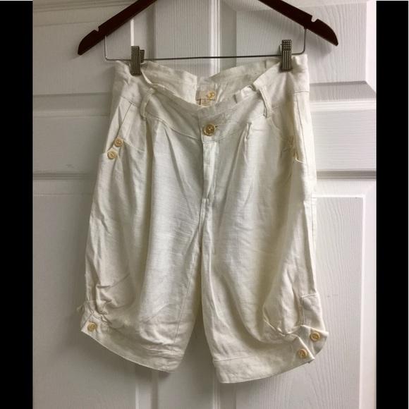 Ya Los Angeles Pants - Ya Los Angeles cream white Linen shorts size S